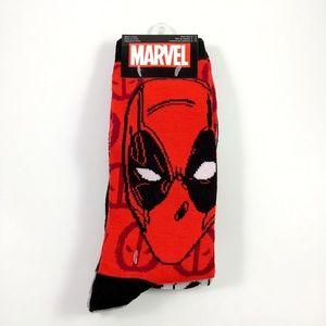 New Mens Marvel Deadpool Crew Socks Size 6-12
